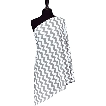 Itzy Ritzy Breastfeeding Cover and Infinity Nursing Scarf – Nursing Cover Can Be Worn as a Scarf and Provides Full Coverage While Nursing Baby, Gray Chevron