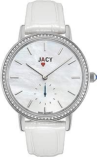 JACY Womens Luxury Diamond Watch - Swiss Quartz Watch with Real Diamonds - Silver Stainless Steel