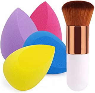 BEAKEY 4+1Pcs Makeup Sponges with Powder Brush, Foundation Blending Sponge for Liquid Cream and Powder, Professional Beauty Sponge Blender & Kabuki Brush