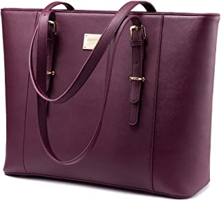Laptop Bag for Women, Large Computer Bags for Women, Laptop Purse Fit Up to 15.6 Inch, Laptop Briefcase for Women with Padded Compartment, Professional Laptop Tote Work Bags, Deep Plum