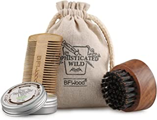 BFWood Beard Brush and Comb Set - Walnut Round Beard Brush & Sandalwood Beard Comb