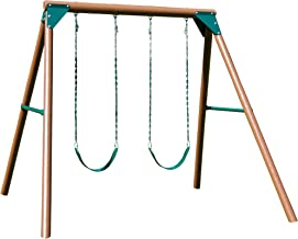 Swing-N-Slide PB 8329 Equinox Swing Set Wooden Pole Set with 2 Swing Seats and Hardware, Wood