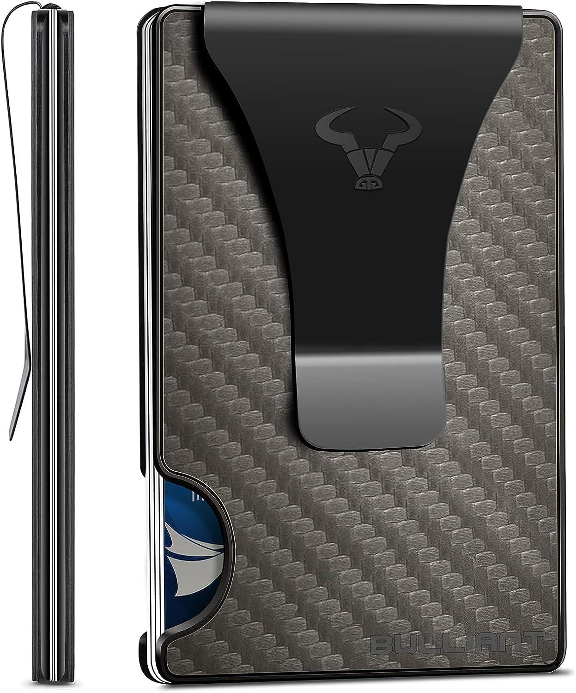 Mens Money Clip Wallets 20 Cards-BULLIANT Slim Front Pocket Card Case Wallet RFID Blocking-One-Piece Aluminium Gift Boxed