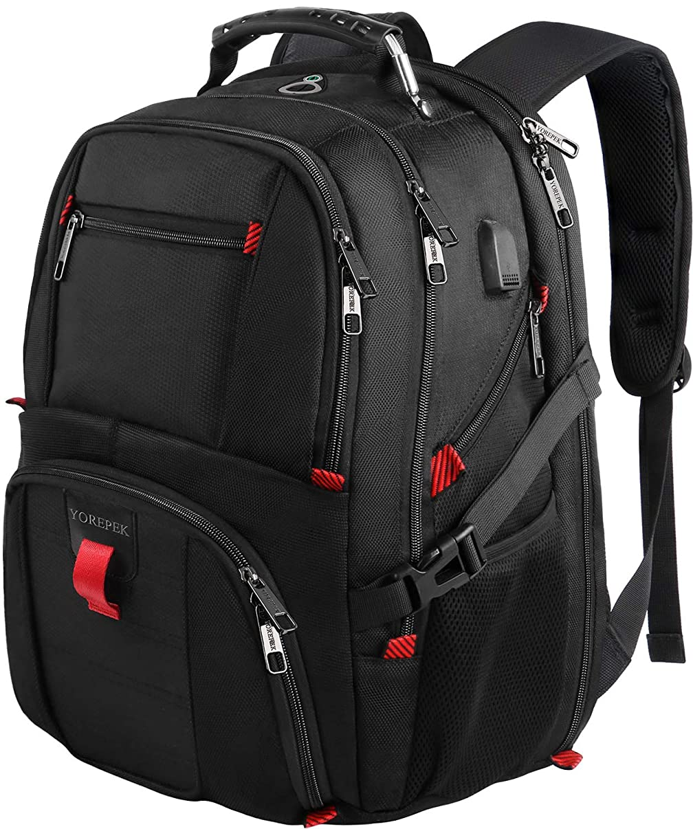 YOREPEK 18.4 Laptop Backpack,Large Computer Backpacks Fit Most 17.3 and 18 Inch Laptop with USB Charger Port,TSA Friendly Flight Approved Weekend Carry on Backpack w/Luggage Strap for Men and Women