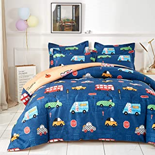 Uozzi Bedding Cars Queen Comforter Set with Traffic Lights Navy 100% Microfiber Hypoallergenic Boys Duvet Insert 88x88 Kids Bedding Set