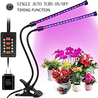 Grow Light for Indoor Plants, 2019 Latest Timing Function (Auto ON/OFF) with 36 LED (18W) Dual Head Clamp Clip Plant lamp, Adjustable Flexible 360° Gooseneck, 3 Working Modes, 5 Dimmable Levels for Hydroponics Greenhouse Gardening Seeding Growing(Adapter Included) (18W Single Cycle Timer Grow Light)