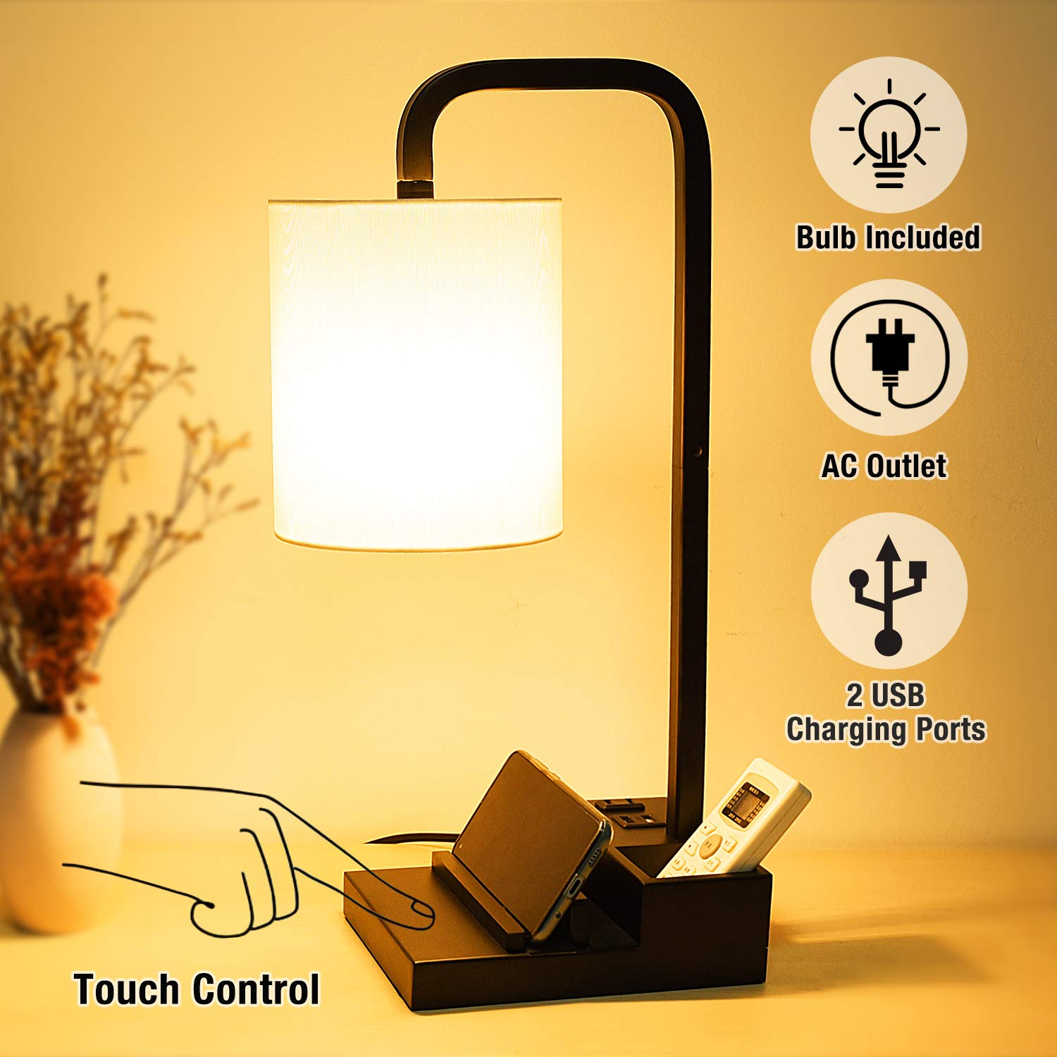 Dimmable Nightstand Charging Lampshade Equivalent