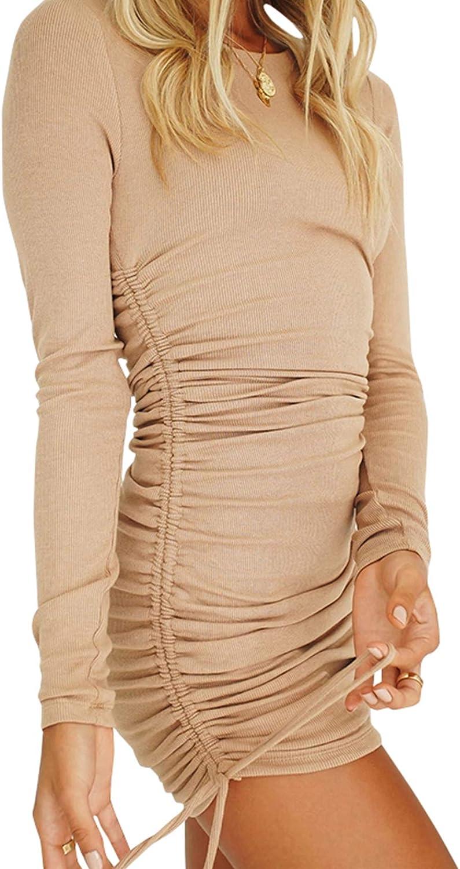 Rozegaga Womens Sexy High Neck Long Sleeve Side Drawstrings Ribbed Bodycon Mini Dress