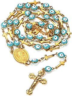 greek eye and cross necklace