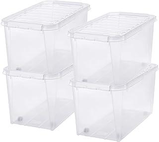 SmartStore - Classic 70 - Lot de 4 Grandes Boîtes de Rangement sur Roulettes - Plastique - Transparent - 72 x 40 x 38 cm -...