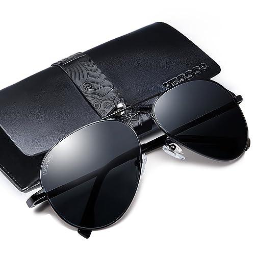 f52f4a3236 VEGOOS Mens Aviator Sunglasses Polarised Sunglasses for Women UV400  Protection Metal Frame Mirrored Sunglasses