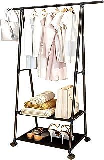 Portant à vêtements sur roulettes pour petits espaces, pour chambre à coucher, intérieur avec 2 compartiments de rangement...