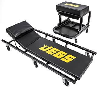 JEGS Creeper and Mechanic Seat Set | Memory Foam Padding | Black with JEGS Logo | 350 LBS...
