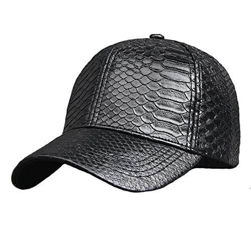 a4ef8c773d7f4 Pu Adjustable Baseball Cap Women Men Unisex Glossy Snake Skin Structured Caps  Hat