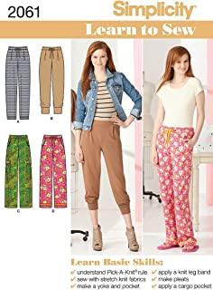 Simplicity 2016 Learn to Sew Women`s Woven and Knit Pants Sewing Patterns, Sizes 6-18