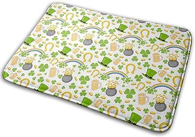 St. Patrick's Day Ireland Beer Hat Rainbow Carpet Non-Slip Welcome Front Doormat Entryway Carpet Washable Outdoor Indoor Mat Room Rug 15.7 X 23.6 inch