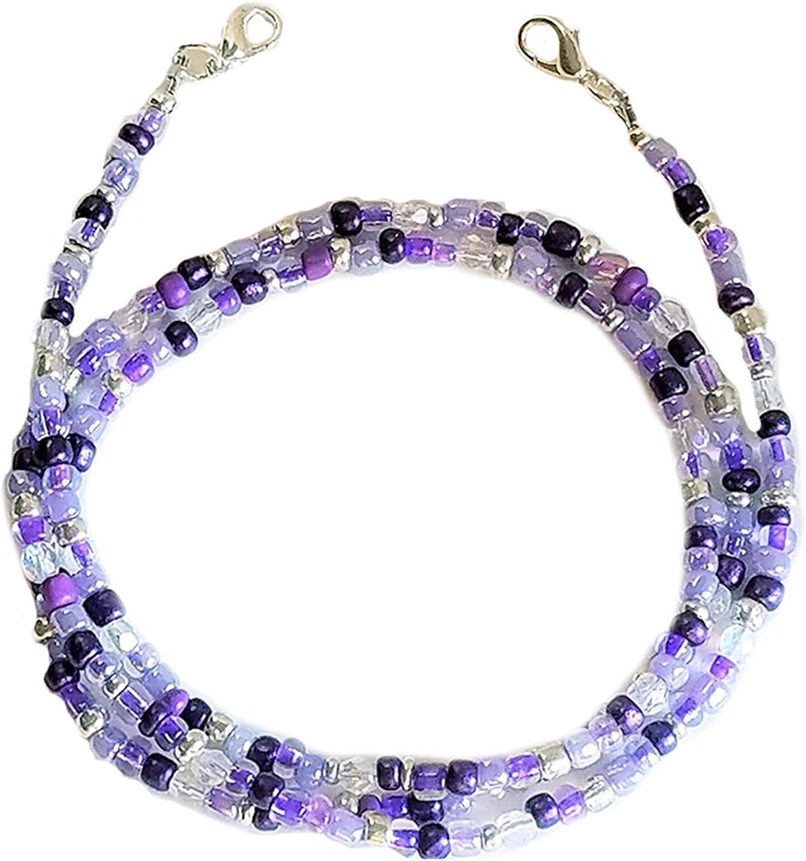 Beaded Mask Chain Necklace Eyeglass Chain for Women Eyeglass String Holders Mask Lanyard Around Neck Mask Holders PURPLE 50cm