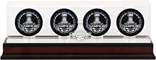 Fanatics Authentic NHL St. Louis Blues Stanley Cup Champions Mahogany Four Hockey Puck Logo Display Case, Black, One Size