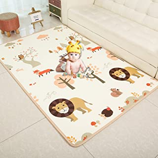 "Baby Play Mat XPE Foam Floor Gym Slip Thickening Reversible Waterproof playmat Portable Double Sides Kids Baby Toddler Outdoor or Indoor Use(79""X71""X0.4"") Lion"