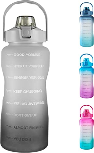 64oz Leakproof Free Drinking Water Bottle with Motivational Time Marker BPA Free for Fitness, Gym and Outdoor Sports ...