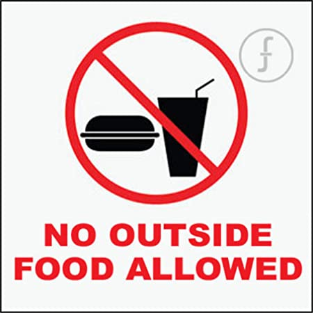 Fingerz Pack Of 2 No Outside Food Allowed Sticker Sign Wall Office Home Multi Colored High Resolution Image Decal 6 X 6 Inch Amazon In Office Products