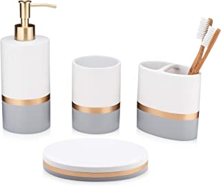 Essentra Home Day and Night Collection 4-Piece Bathroom Accessory Set White and Grey with Gold Stripe, Set Includes: Lotion Dispenser, Toothbrush Holder, Tumbler and Soap Dish