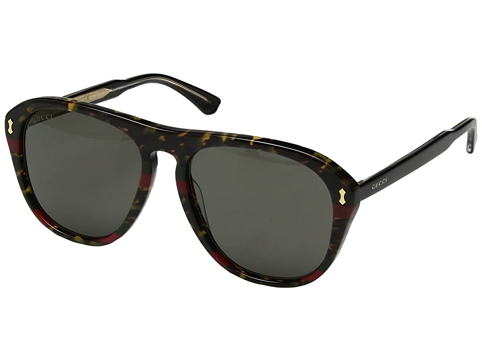 Gucci GG0128S (Havana Green Red Web/Brown) Fashion Sunglasses