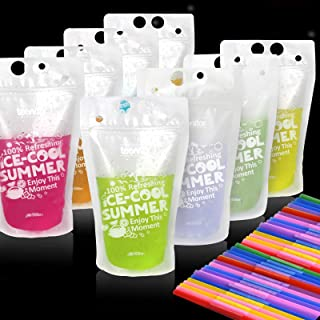Teenitor 100 Drink Pouches Bags with 100 Disposable Plastic Straws, Smoothies Protein Shakes Juices Drink Bags Bags, Stand...