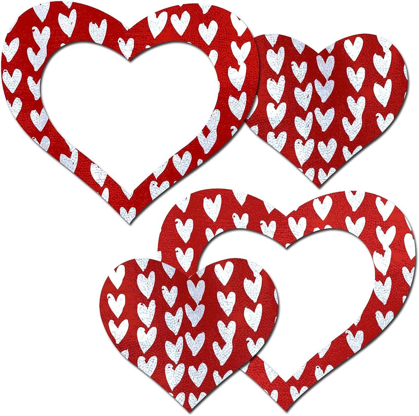 Pastease Nipple Pasties - Red Hearts Print Peek-a-Boob Nipple Pa