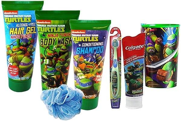 Teenage Mutant Ninja Turtles 7pc All Inclusive Ninja Punch Boys Bathroom Collection Includes Body Wash 2 In 1 Conditioning Shampoo Hair Gel Bath Puff Plus Bonus Ninja Turtles Bright Smile Oral Hygiene Set