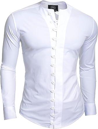 D&R Fashion Camisa Fashion pintoresco Hombre con Cierre bucles y Cuello Equipo