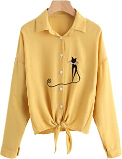 Womens Tie Front Knot Tops Shirts Cat Button-Down T-Shirt Cute Blouse