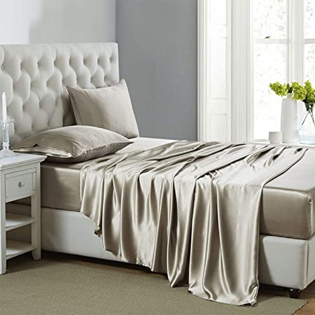 Lanest Housing Silk Satin Sheets, 4-Piece Queen Size Satin Bed Sheet Set with Deep Pockets, Cooling Soft and Hypoallergenic Satin Sheets Queen - Taupe