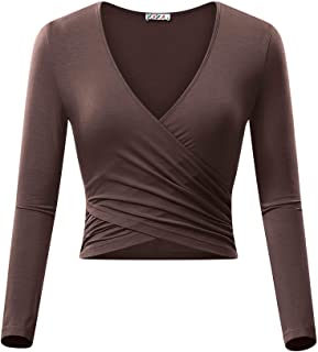 KIRA Women s Deep V Neck Long Sleeve Unique Slim Fit Coss Wrap Shirts Crop  Tops 6a2c8d5ac75