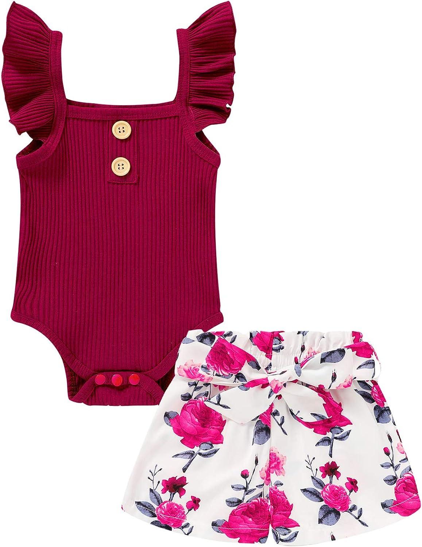 Newborn Baby Girls Shorts Set Sleeveless Ruffle Romper + Floral Pants Shorts 2PCS Summer Clothes