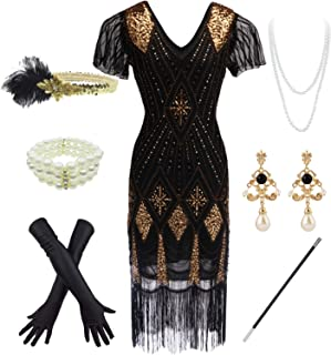 YENMILL 1920s Cocktail Sequin Long Art Flapper Lace Sleeve Plus Dress w/20s Accessories