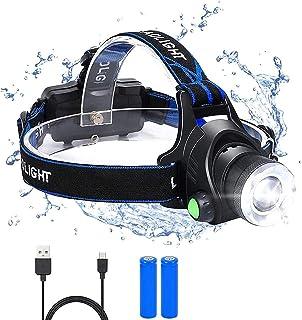 flintronic Frontal Led Recargable, USB Recargable Linternas Frontales, 3 Modos de luz y faro giratorio de 90°, Potencia 60...