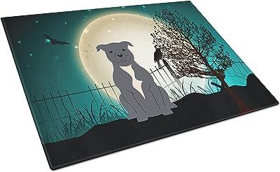 Caroline's Treasures BB2236LCB Halloween Scary Staffordshire Bull Terrier Blue Glass Cutting Board, Large, Multicolor [並行輸入品]