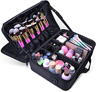 Docolor Makeup Train Case Multi Functional Professional Portable Makeup Bag Make Up Artist Box Cosmetic Organizer for Cosmetics Makeup Brushes Beauty Tool (Black,Large)