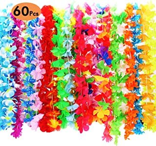 CXWILL Hawaiian Leis 60 Counts Tropical Hawaiian Luau Flower Leis for Adults and Kids Party Favors (Colorful)