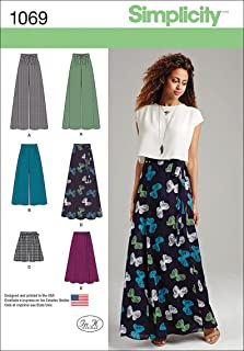 Simplicity 1069 Wide Leg Pants, Shorts, and Maxi Skirt Sewing Pattern for Women, Sizes 12-20