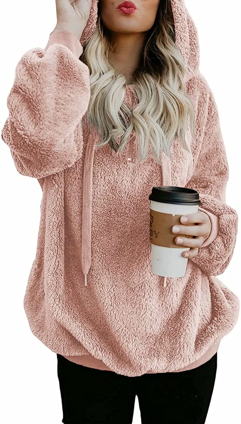 Dokotoo Womens Fuzzy Casual Loose Sweatshirt Hooded with Pockets Outerwear S-XXL