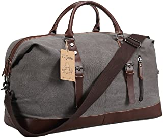 Ulgoo Travel Duffel Bag Canvas Bag PU Leather Weekend Bag Overnight (Grey)