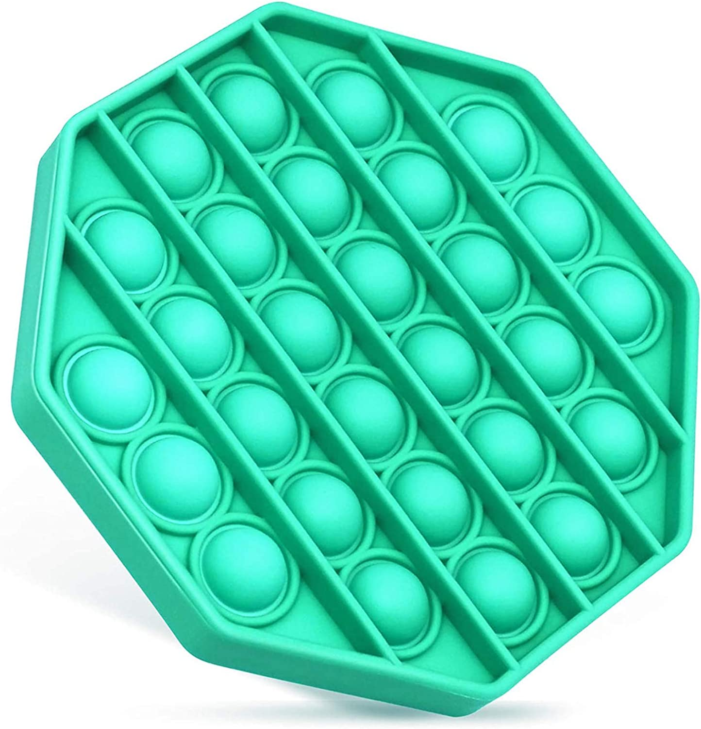 Push Pop Bubble Fidget Toy, Silicone Bubble Wrap Toy Push Pop Fidget Sensory Toy, Stress and Anxiety Relief Toys for Kids Adults(Octagon, Green