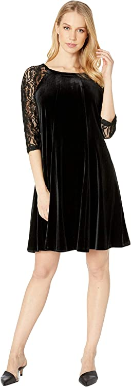 Stretch Flat Velvet Dress w/ Lace