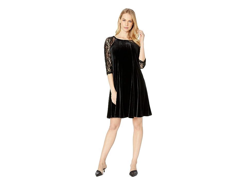 Gabby Skye Stretch Flat Velvet Dress w/ Lace (Black) Women