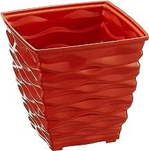 Klassic Plastic Square Planter Set (Small, Orange, Pack of 4)