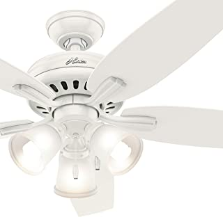 Hunter Fan 52 inch Fresh White Ceiling Fan with a CFL Light Kit (Renewed)