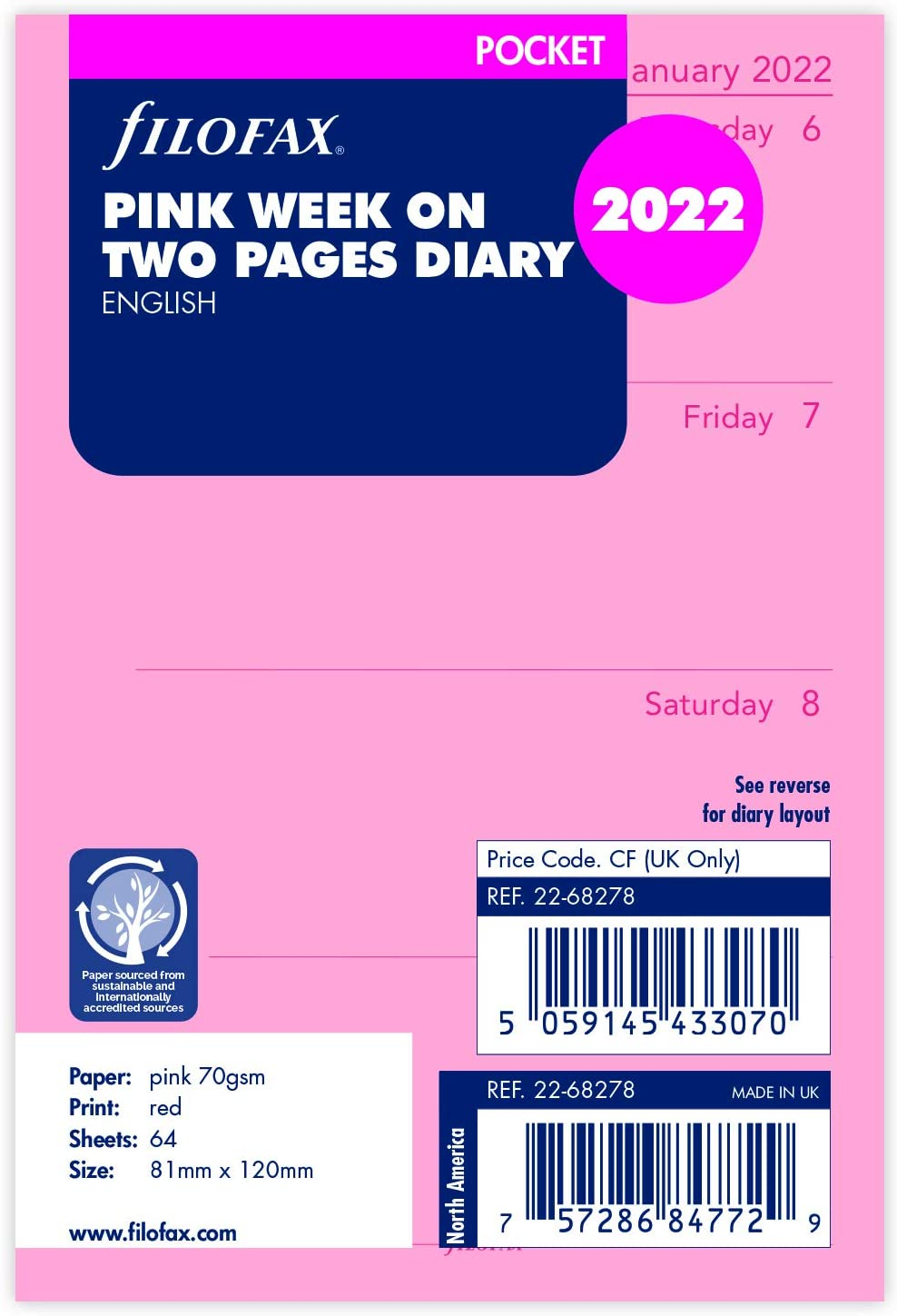 Filofax Pocket Week on Cheap bargain Two Pages Refill - 2022 Popular Diary Pink