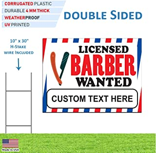 Licensed Barber Wanted Sign Help Employment Beauty Salon Custom Double Sided Coroplast Yard Sign for Business - Visible Text Long Lasting and Rust Free with Metal H-Stake (24